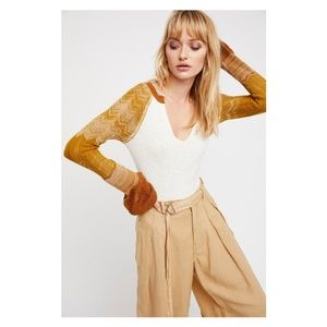 FREE PEOPLE Sunshine Thermal Bell Sleeve Knit Top